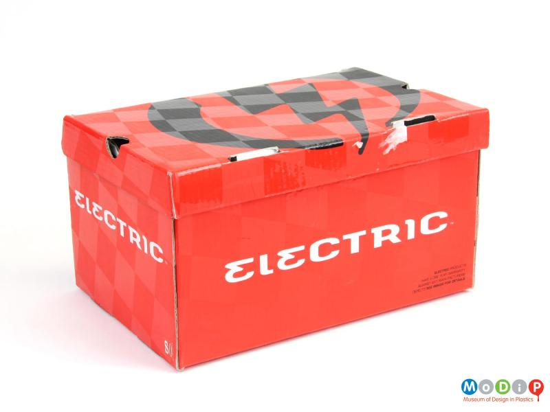 Packaging view of a pair of Electric goggles showing the box.