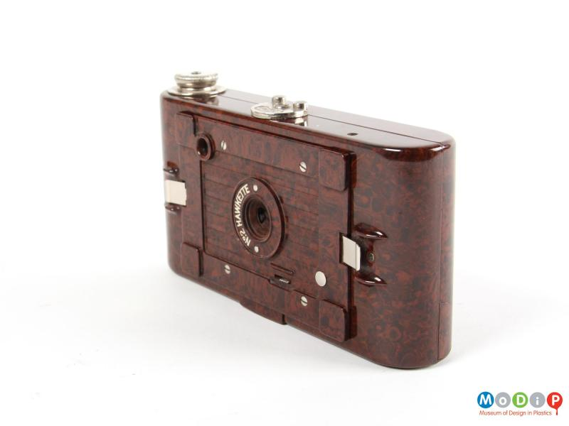 Side view of a camera showing the mottled case.