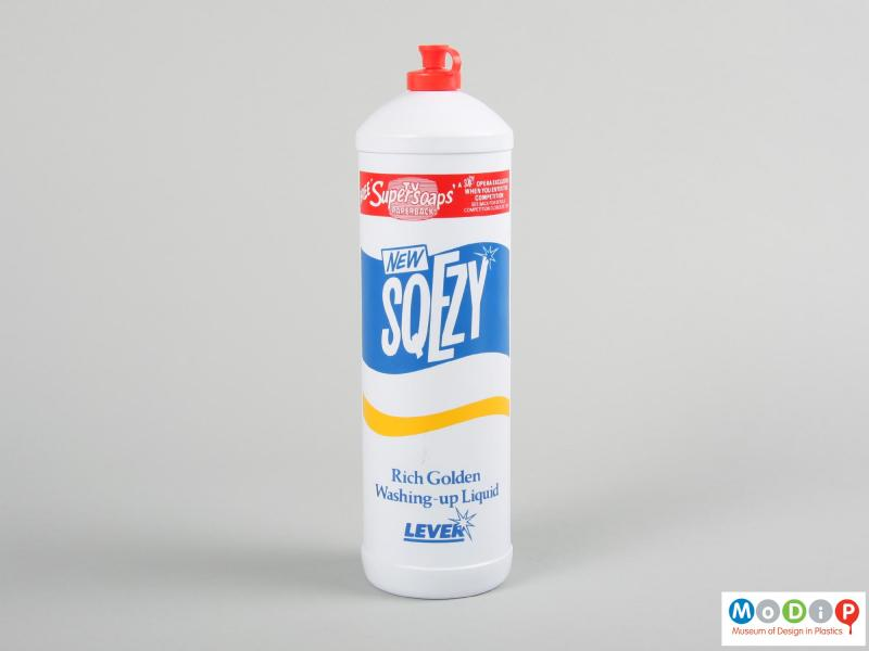Front view of a Sqezy bottle showing the printed design.