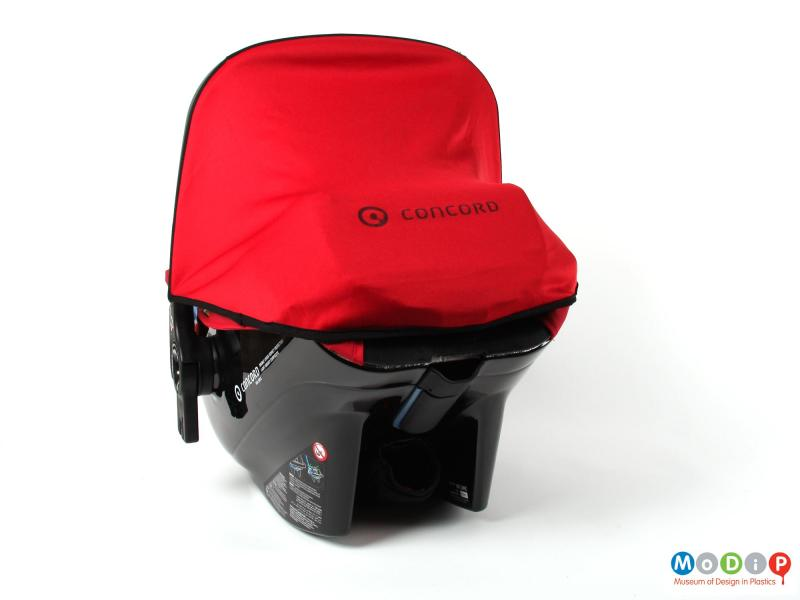 Rear view of a car seat showing the sunshade.