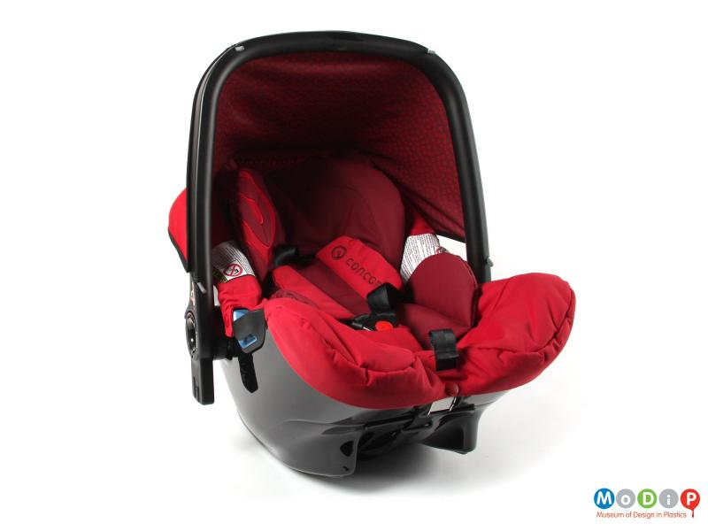 Front view of a car seat showing the sunshade.