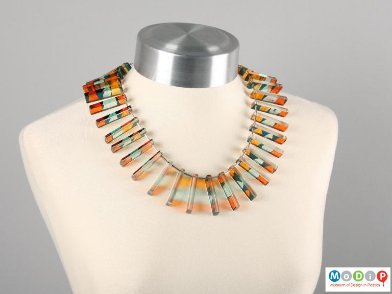 Front view of a necklace showing the rectangular sections.