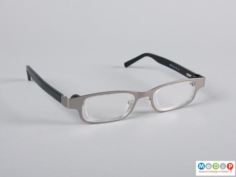 Front view of a pair of glasses showing the metal frames.