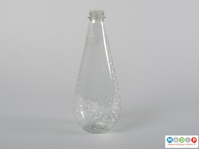 Rear view of a bottle showing the teardrop shape.