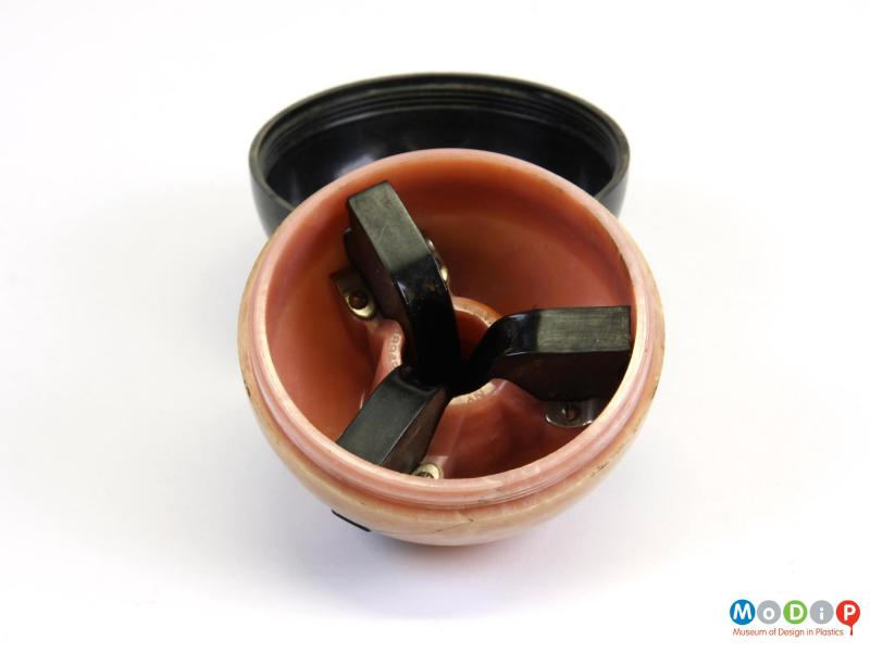 Inside view of an ashtray showing the open cigarette rests.