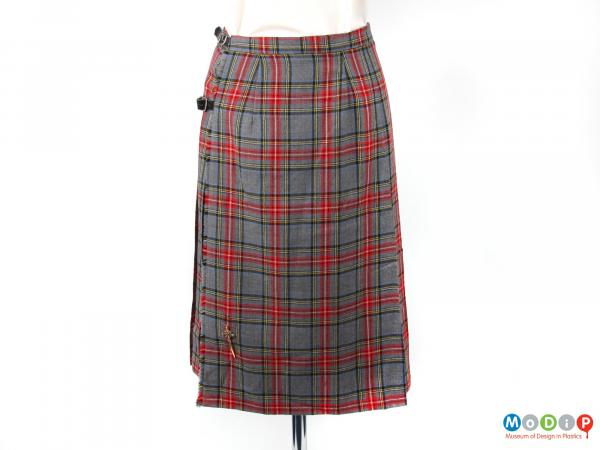 Front view of a skirt showing the small kilt pin.