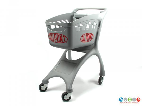 Front view of a shopping trolley showing the wide legs.