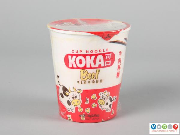 Side view of a Kako Beef noodles pot showing the printed illustration.