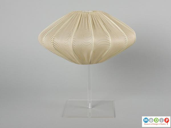 Side view of a lampshade showing the squat shape.