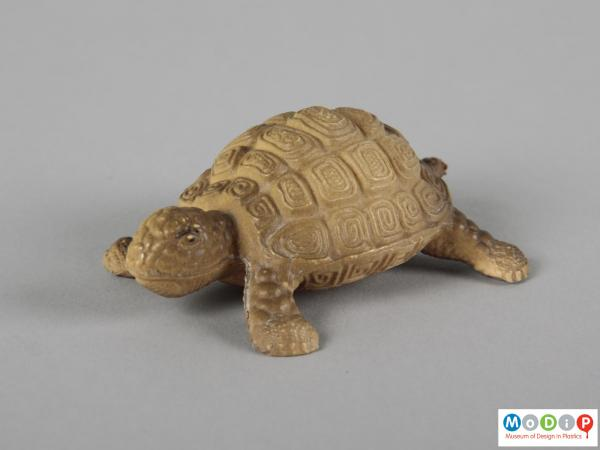 Side view of a toy showing the moulded patterning on the shell.