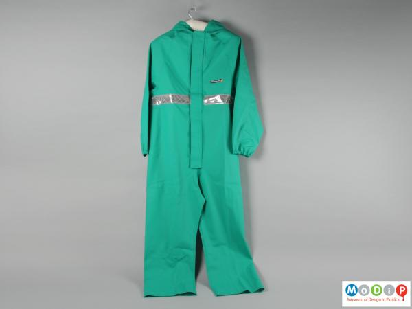 Front view of a set of coveralls showing the elasticated cuffs.