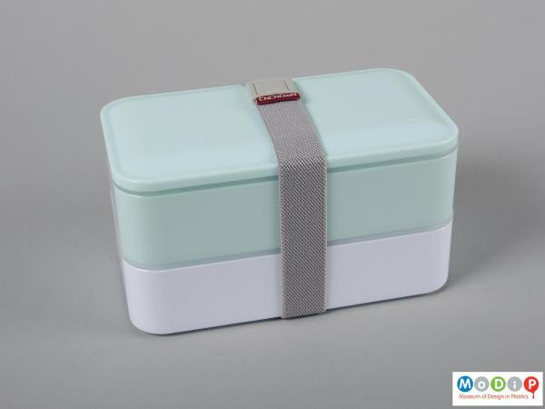Top view of a lunch box showing the compartments held together.