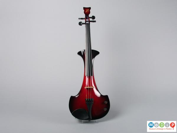Front view of a violin showing the narrow shaped body.