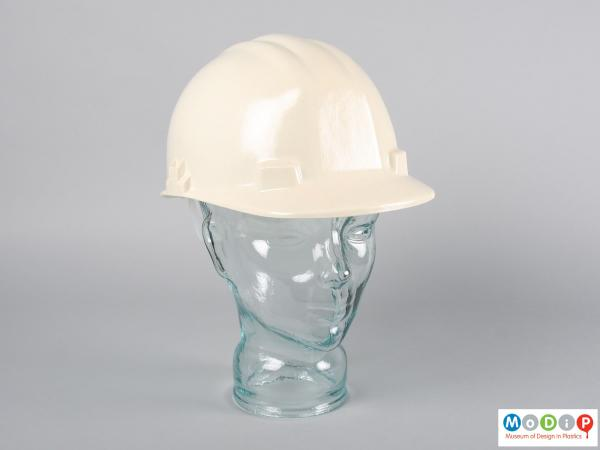 Front view of a safety hat showing the peak.